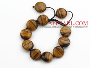 17mm Flat Round Tiger Eye Knotted Adjustable Drawstring Bracelet